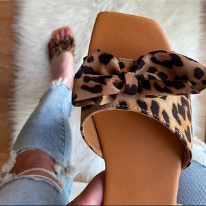 Leopard Bow Square Toe Slide Sandals